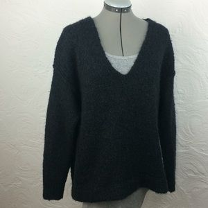 FreePeople navy alpaca v-neck knit slouch sweater